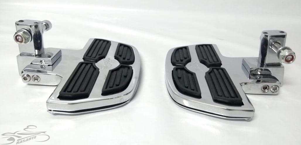 Pedaleira Traseira Harley Davidson Roadster - Plataforma Mini Preto e Cromado - Rasante