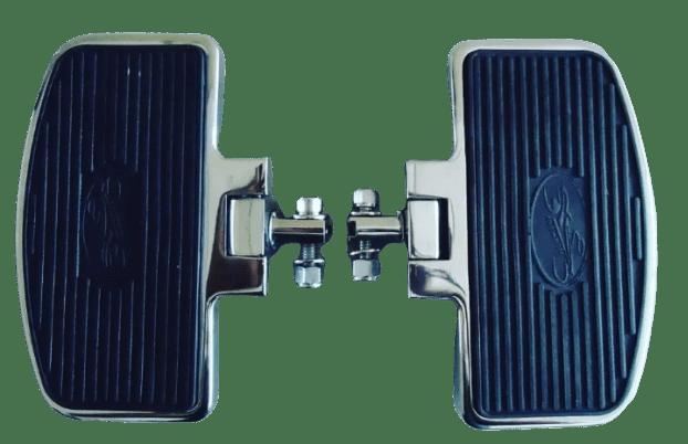 Pedaleira Traseira Harley Road King  - Plataforma Articulada Preta e Cromada - Rasante