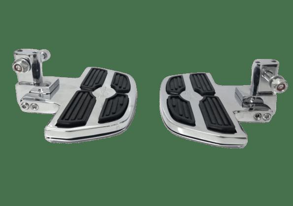 Pedaleira Traseira Harley Road King Plataforma Mini Preto e Cromado - Rasante