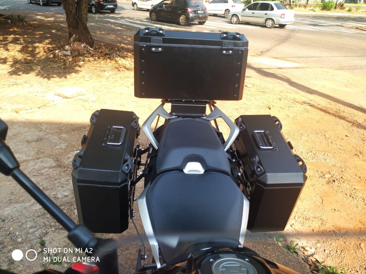 Baú Alumínio Moto Tracer 900 GT Lateral e Traseiro Bauleto Tracer900 Yamaha Livi