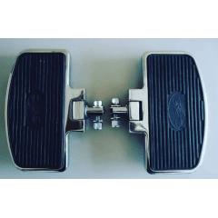 Pedaleira Dianteira Harley Softail Fat Bob - Plataforma Articulada Preta e Cromada - Rasante