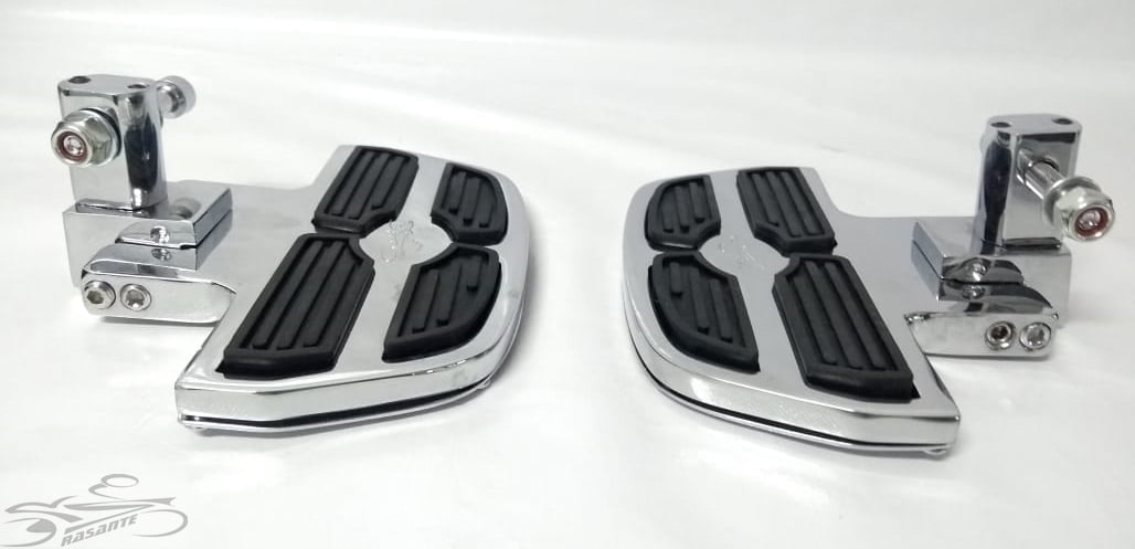 Pedaleira Dianteira Harley Davidson Fat Bob - Plataforma Mini Preto e Cromado - Rasante  - Cópia (1)
