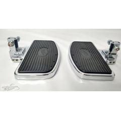 Pedaleira Dianteira Harley Davidson XL 883 Iron 883  - Plataforma Articulada Preta e Cromada - Rasante