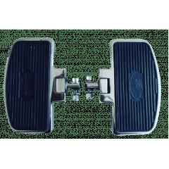 Pedaleira Dianteira Harley Softail Fat Boy - Plataforma Articulada Preta e Cromada - Rasante
