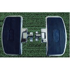 Pedaleira Traseira Harley Softail Fat Bob - Plataforma Articulada Preta e Cromada - Rasante
