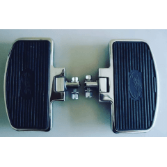 Pedaleira Traseira Harley Softail Fat Boy - Plataforma Articulada Preta e Cromada - Rasante