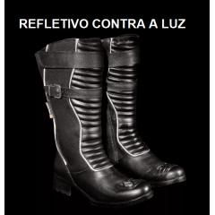 Bota Motociclista Feminina Couro Refletivo - Atron Shoes