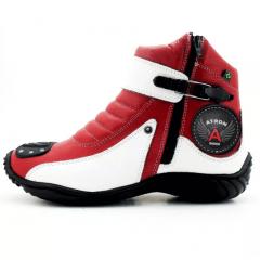 Bota Para Motociclista Vermelha E Branca em Couro