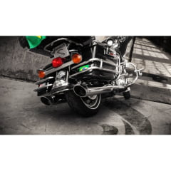 Ponteira Harley Electra Glide Hd Cromado Escape Chanfro Móvel