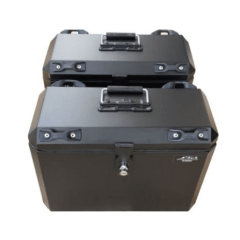 Baú Alumínio Moto Tiger 800 Triumph - Kit Traseiro e Lateral  com suporte - Livi